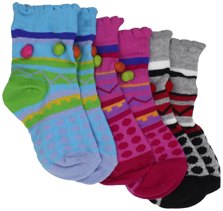 Country Kids Baby Girls Pom Stripe 3 Pair Socks