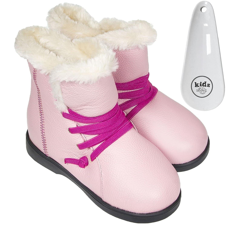 FREYCOO–Déguisement Pour Enfants Bottes pour enfants en cuir véritable rose pâle–Polaire à large avec coussins–avec corne à chaussures