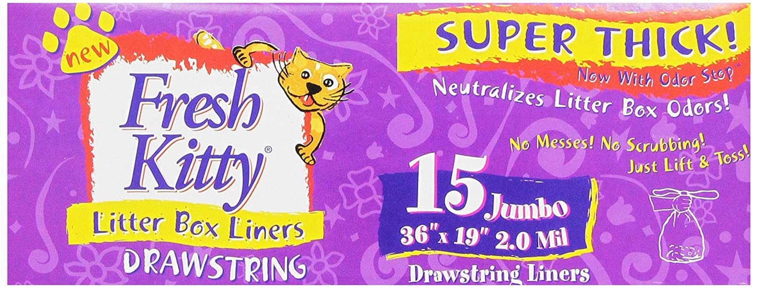 Fresh Kitty 15ct Super Thick Jumbo Drawstring Litter Box Liners