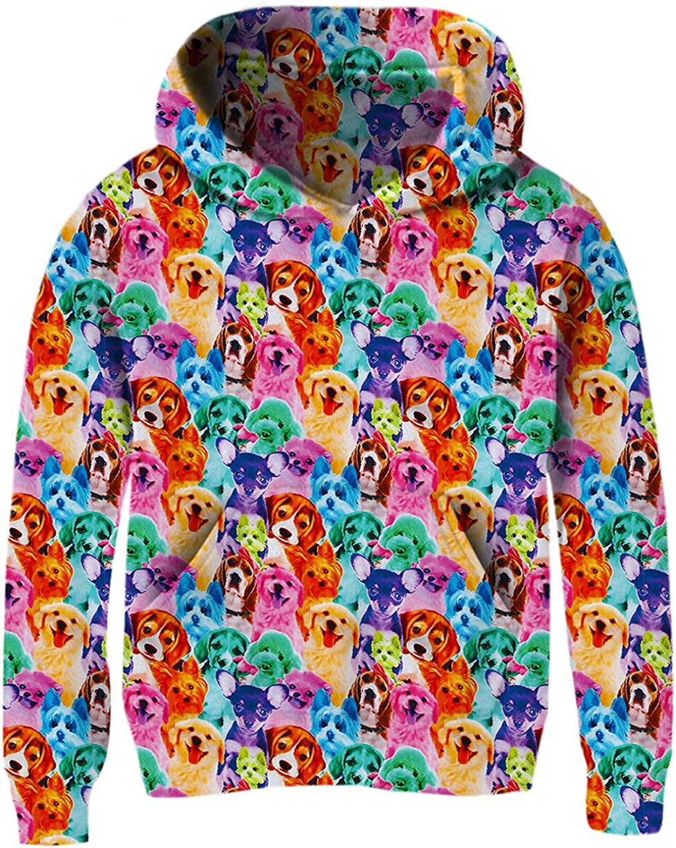 Ahegao Unisex Kids Hoodies Sweaters 3D Printed Casual Hooded Sweatshirts with Big Pockets for 4-14T Boys Girls