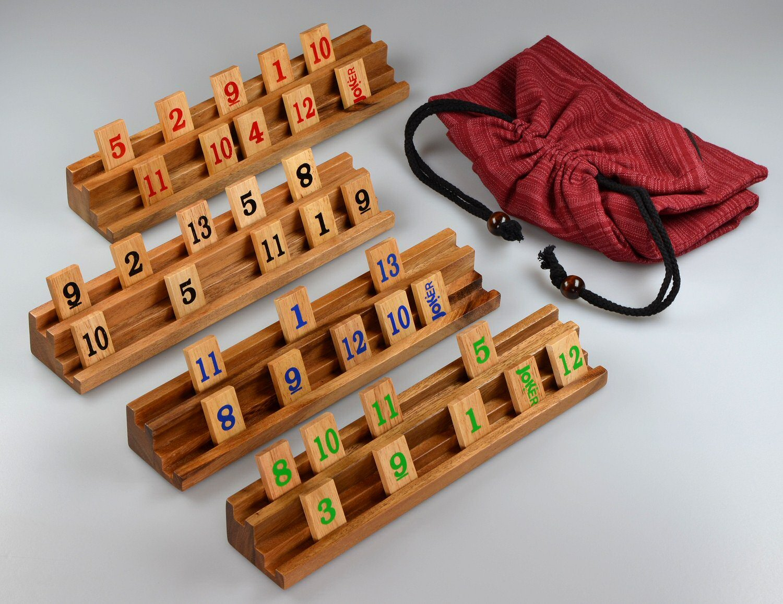 Rummy - Strategiespiel - Gesellschaftsspiel - Legespiel im Stoffbeutel - Halterungen und Steine in edler Holzausführung