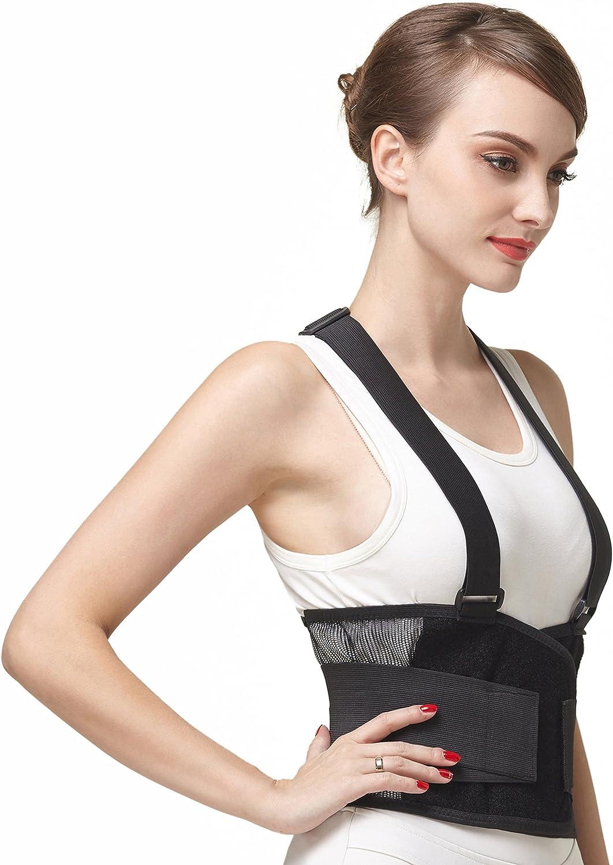 Faja para la espalda con tirantes, apoyo lumbar, cinturón de culturismo/halterofilia, entrenamiento, seguridad en el trabajo y postura - Marca Neotech Care (Talla L)