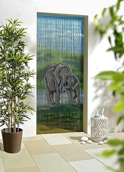Bambusvorhang Dekovorhang Türvorhang Raumteiler Elefanten 90x200 NEU