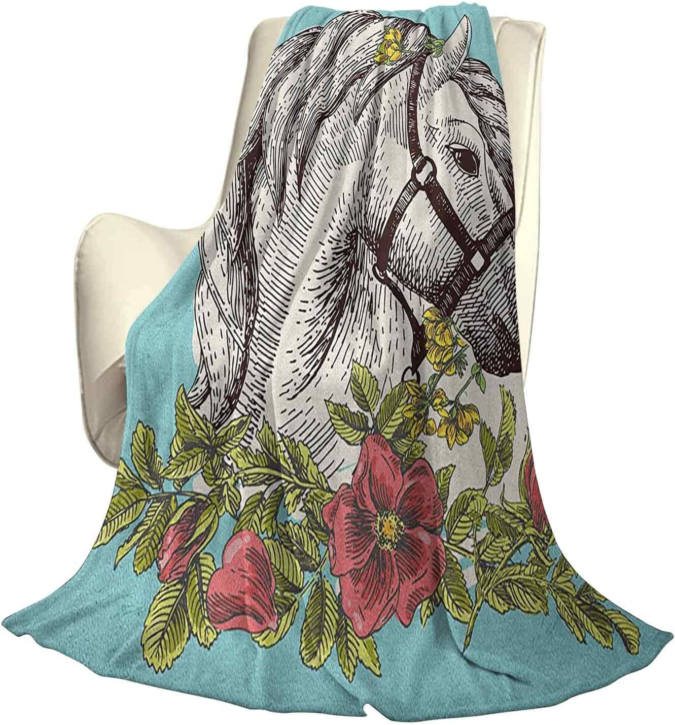 Floral Super Soft Warm Decorative Blanket Boho Style Horse Opium Blossoms Poppy Wreath Equestrian Illustration Beautiful Home Decor W60 x L50 Inch Turquoise Green