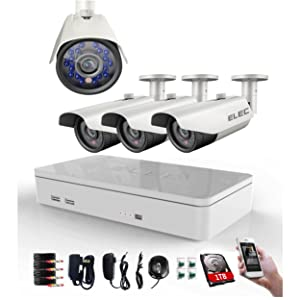 TECBOX 8 Channel Full 960H DVR Video Recorder with 4 Outdoor Waterproof Cameras Home Security System 1TB Hard Drive