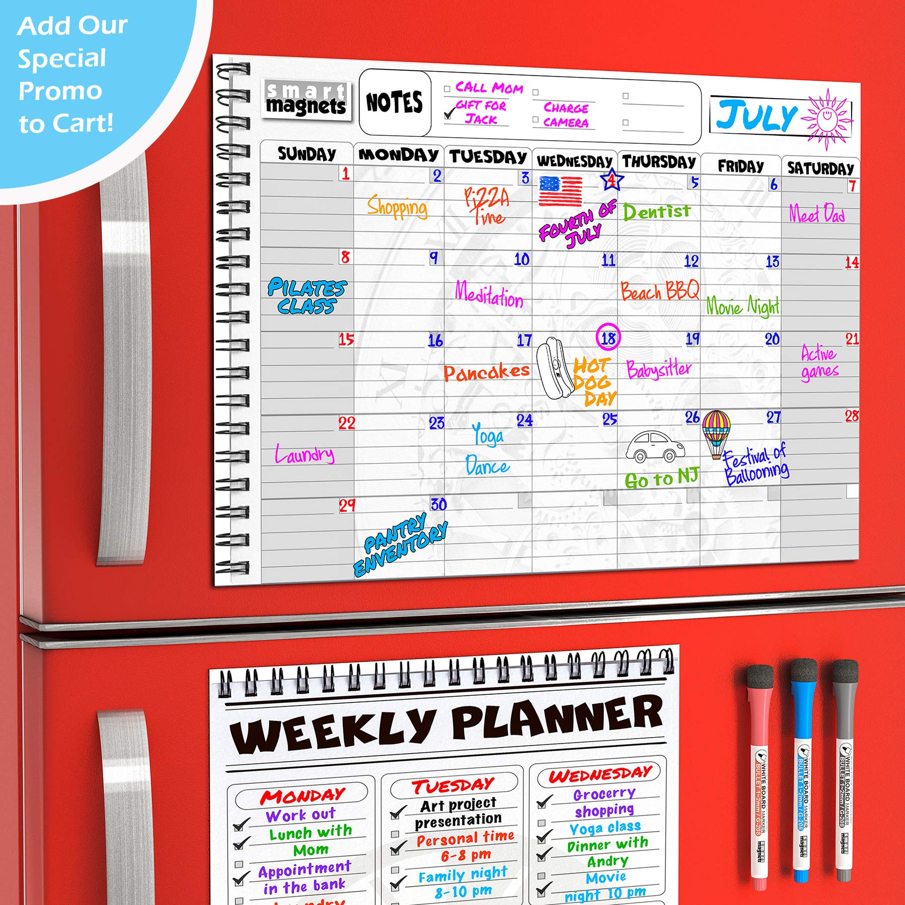 Magnetic Monthly Planner Board SET for Kitchen Fridge - Large Dry Erase Calendar Monthly Organizer with To Do List Notepad and Dry Erase Weekly Planner Whiteboard with Reusable Grocery List Magnet Pad