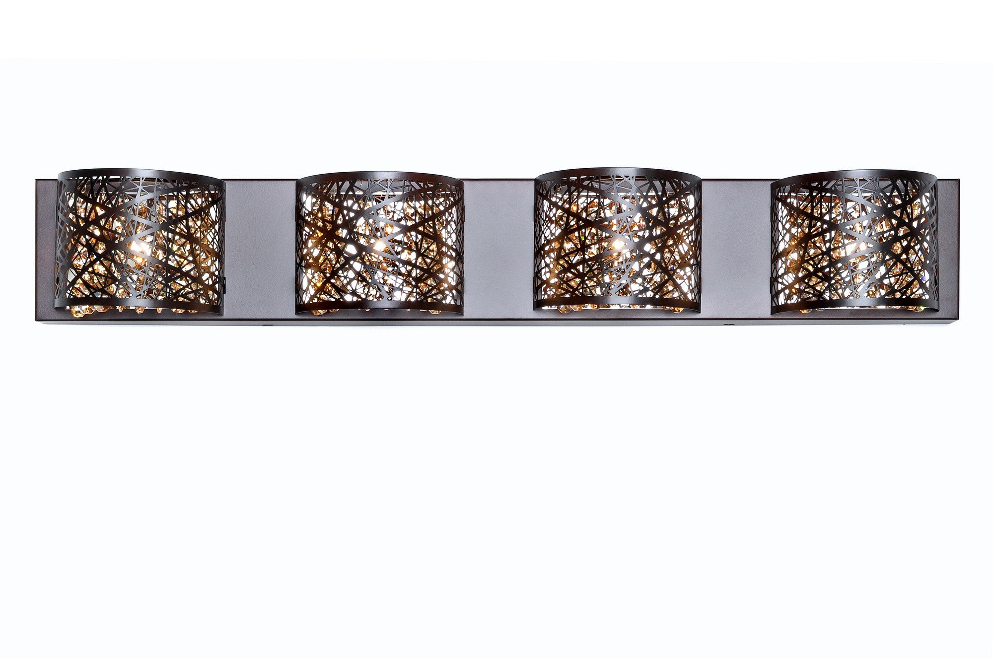ET2 E21317-10BZ Inca 4-Light Wall Mount Bath Vanity, Bronze Finish, Cognac Glass, G9 Xenon Bulb, 20W Max., Dry Safety Rated, 2900K Color Temp., Standard Dimmable, Glass Shade Material, 156 Rated Lumens