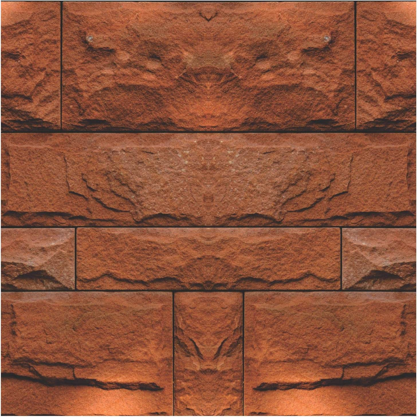 Red Stone Decorative Stickers - (Pack of 24) 6x6 Inch Backsplash Peel and Stick Vinyl Tile Decals for Kitchen Wall Stairs Furniture Staircase DIY Home Decor