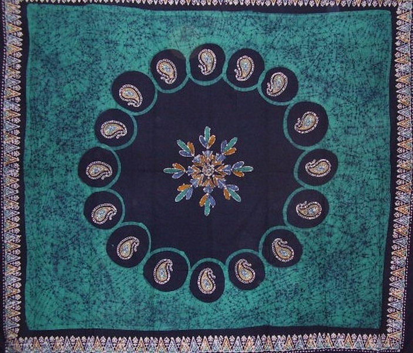 Batik Tapestry Cotton Bedspread 108 x 108 Queen-King Green