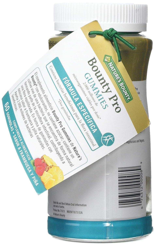 Natures Bounty. Bounty Pro Gummies. Contiene bacterias beneficiosas contribuyendo a una flora intestinal equilibrada.