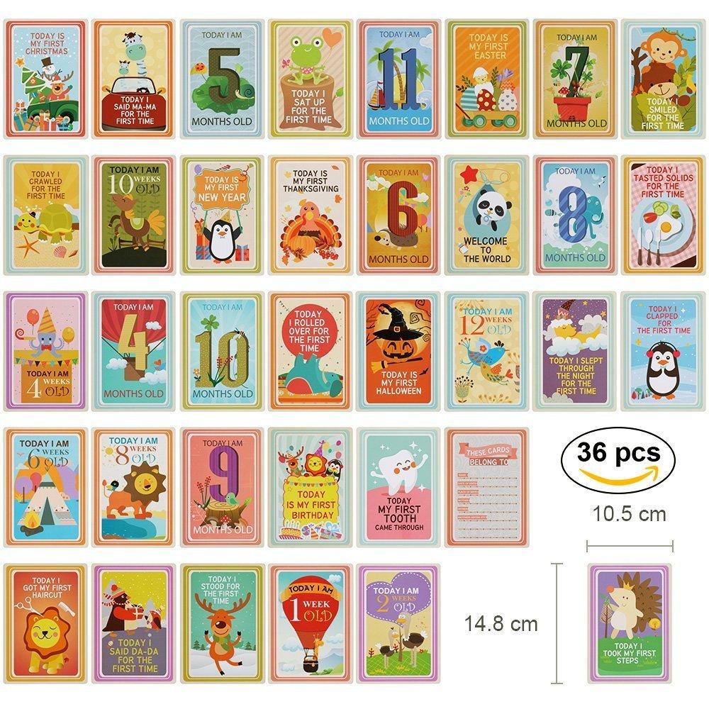 Lictin 36 Papier B/éb/é Carte de Souvenir Unisexe Parfait Cadeau de Naissance pour Souvenir les Moments Cl/és de B/éb/é Fille et Gar/çon