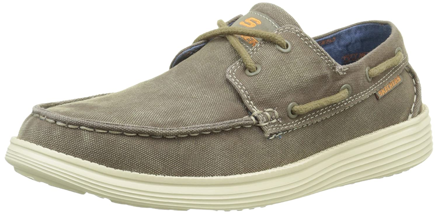 Skechers Status Melec Relaxed Fit Zapatos para Hombre-Off White-40 LBKN6