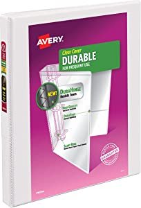 """Avery 0.5"""" Durable View 3 Ring Binder, Slant Ring, Holds 8.5"""" x 11"""" Paper, 1 White Binder (17002)"""