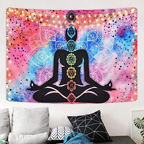 Psychedelic Lotus Tapestry Seven Chakra Tapestry Trippy Yoga Meditation Tapestries Hippie Bohemian Zen Tapestry Wall Hanging for Room 70.9 92.5 inches