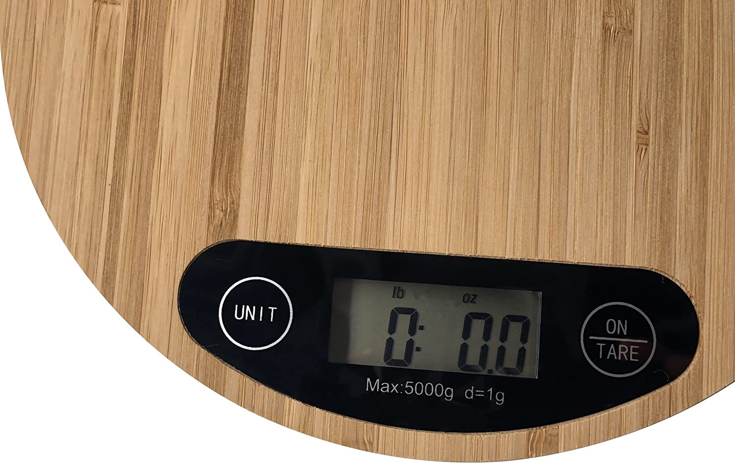 OSVINO Digital Compact Kitchen Food Scale Eco-friendly Bamboo Platform Accurate Weight Measurement 5kg/11lbs with 1g/0.002lbs Precision, Rectangle