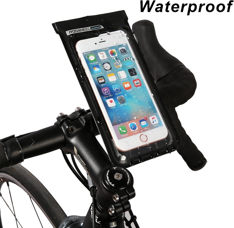 Roswheel 121460 Bike Handlebar Bag Bikepacking Handlebar Bag Cycling Accessories Pack with TPU Cell Phone Pouch