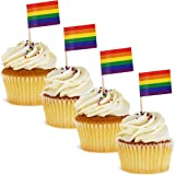 Juvale 200-Pack Rainbow Flag Cupcake Toppers Cocktail Picks - LGBTQ, Gay Pride Party Supplies, 2.5 x 1 Inches