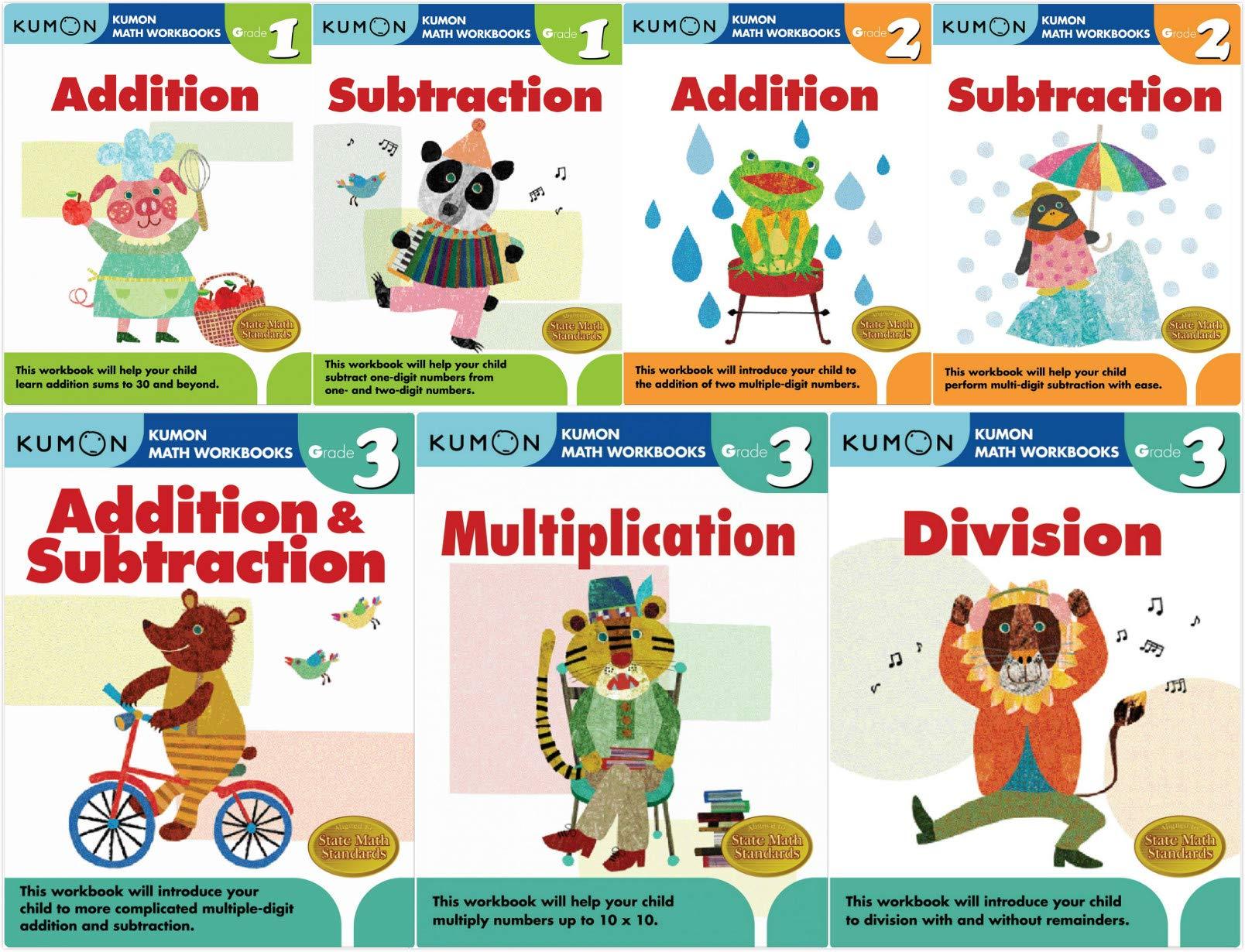 Kumon Math Workbooks SET - Calculation I : Grade 1-3 (7 ...