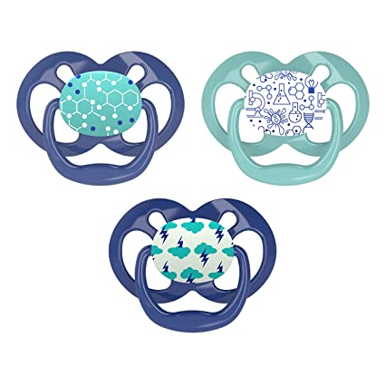 Dr. Brown's Advantage Day and Night Time Baby Pacifiers, 6-18 Month, Blue, 3 Count