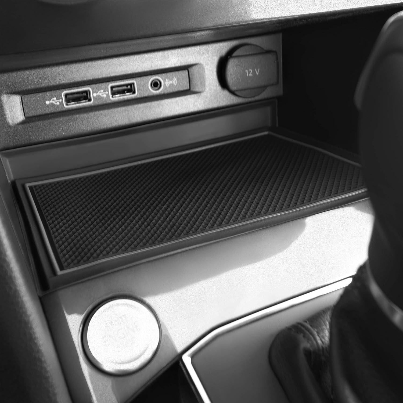 Solid Black Custom Fit Cup and Console Liner Accessories for 2018-Present Volkswagen Tiguan Door