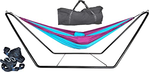 cutequeen Space Saving Steel Stand with 210T Nylon Hammock and tree straps ,Purple Sky Blue