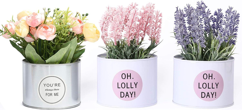 Amazon Com Lueur Pot Artificial Lavender Flowers In Metal Pots