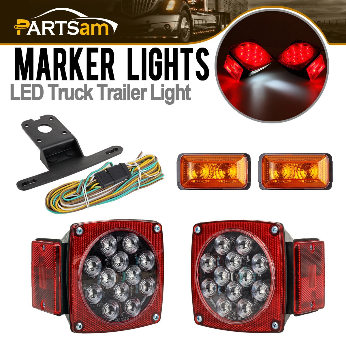 Partsam Led Light Kit Trailer Truck Tail Turn Stop Boat Wiring Diagram Dot Amber Side Marker W Wire Harness Total Of 4pcs Automotive