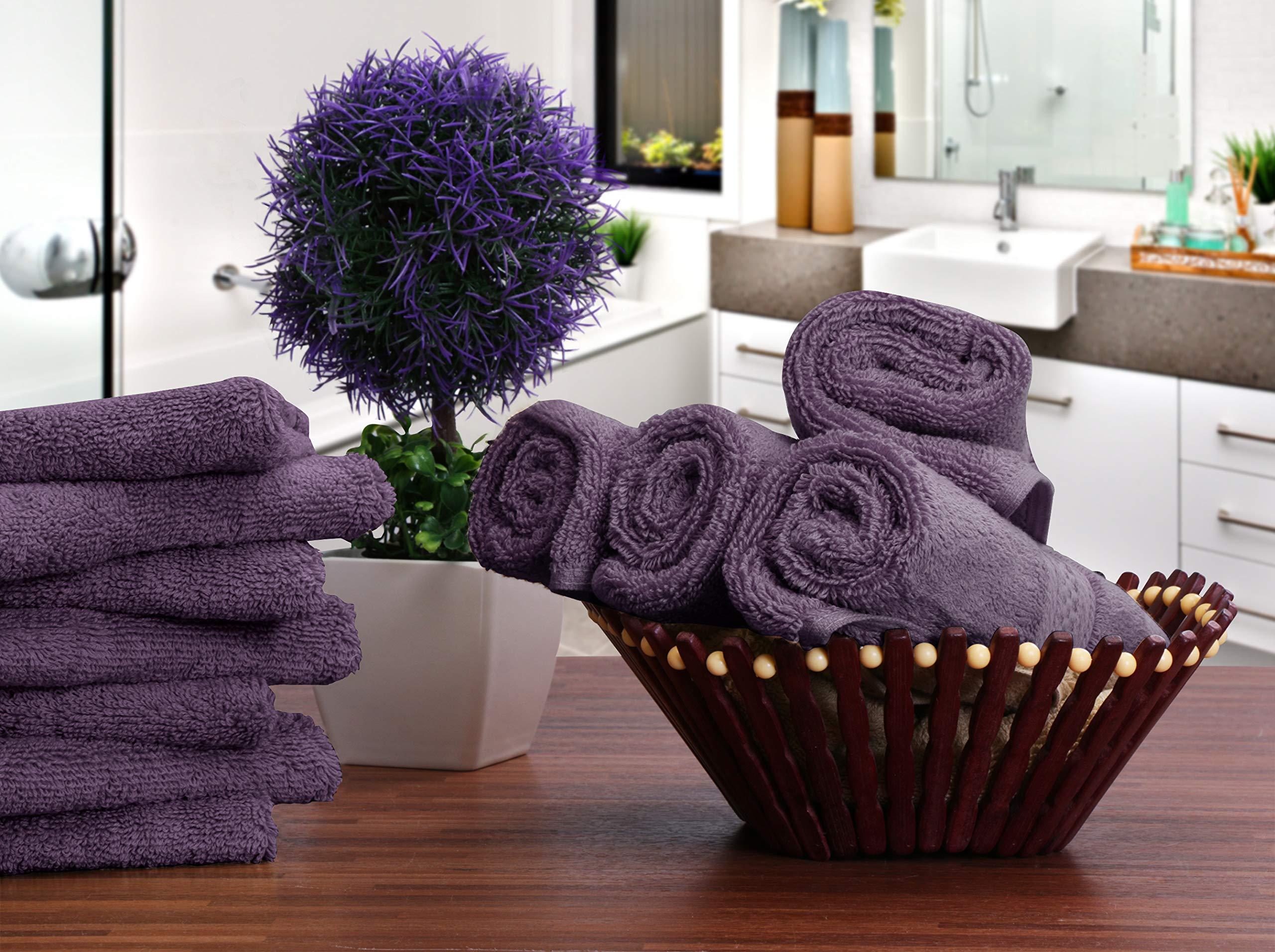 Utopia Towels Premium 252 Pack 700 GSM Cotton Washcloths Bulk– (12 x 12 Inches Face Towels Bulk) Extra Soft Wash Cloths, Plum by Utopia Towels (Image #5)