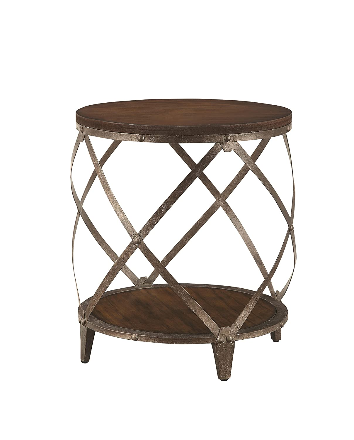 Amazon com metal accent table with drum shape brown kitchen dining
