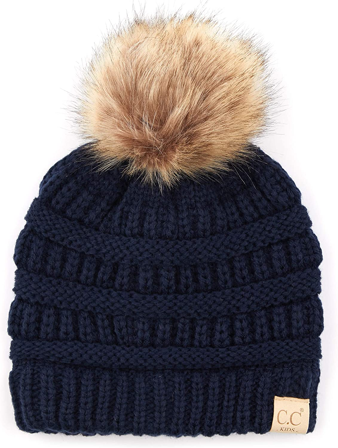 C.C Exclusives Solid Ribbed Kids Beanie Hat with Faux Fur Pom KIDS-43