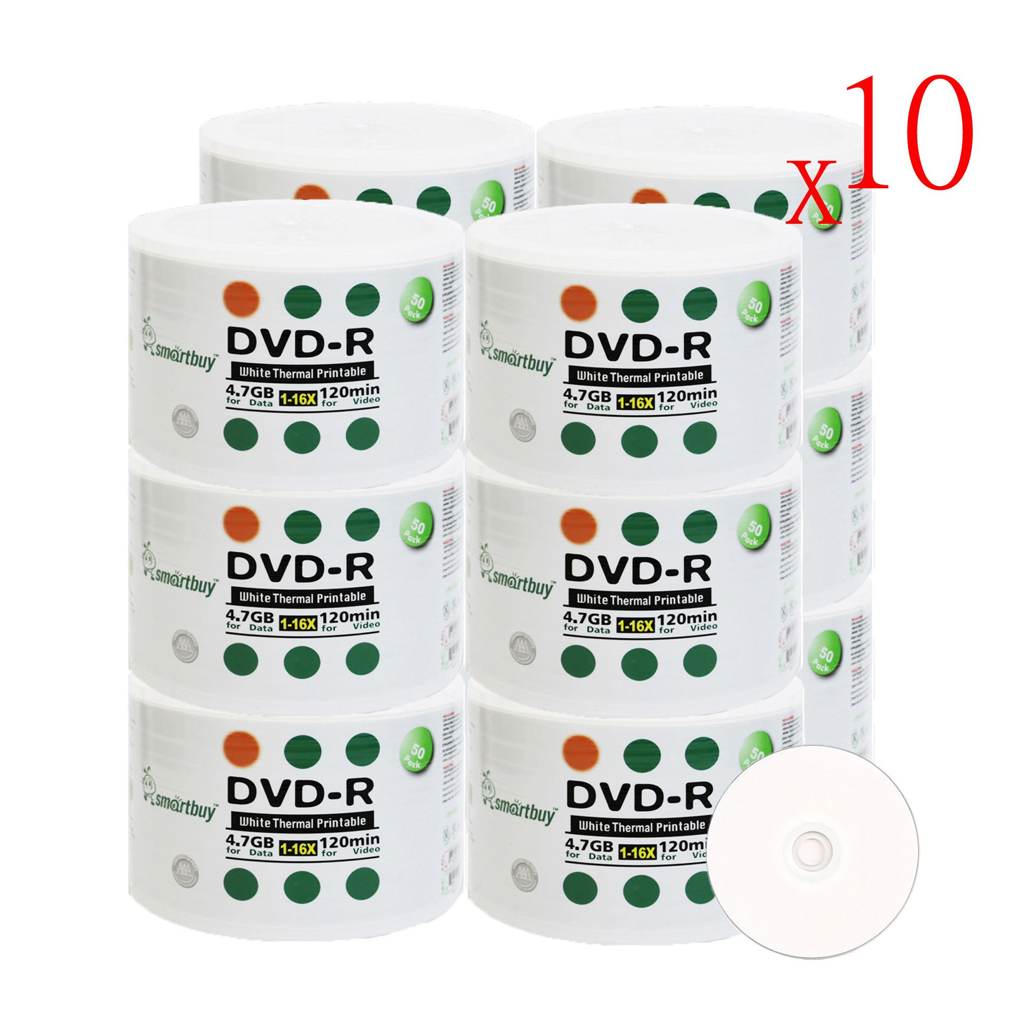 Smartbuy 6000-disc 4.7gb/120min 16x DVD-R White Thermal Hub Printable Blank Media Recordable Disc by Smartbuy (Image #1)