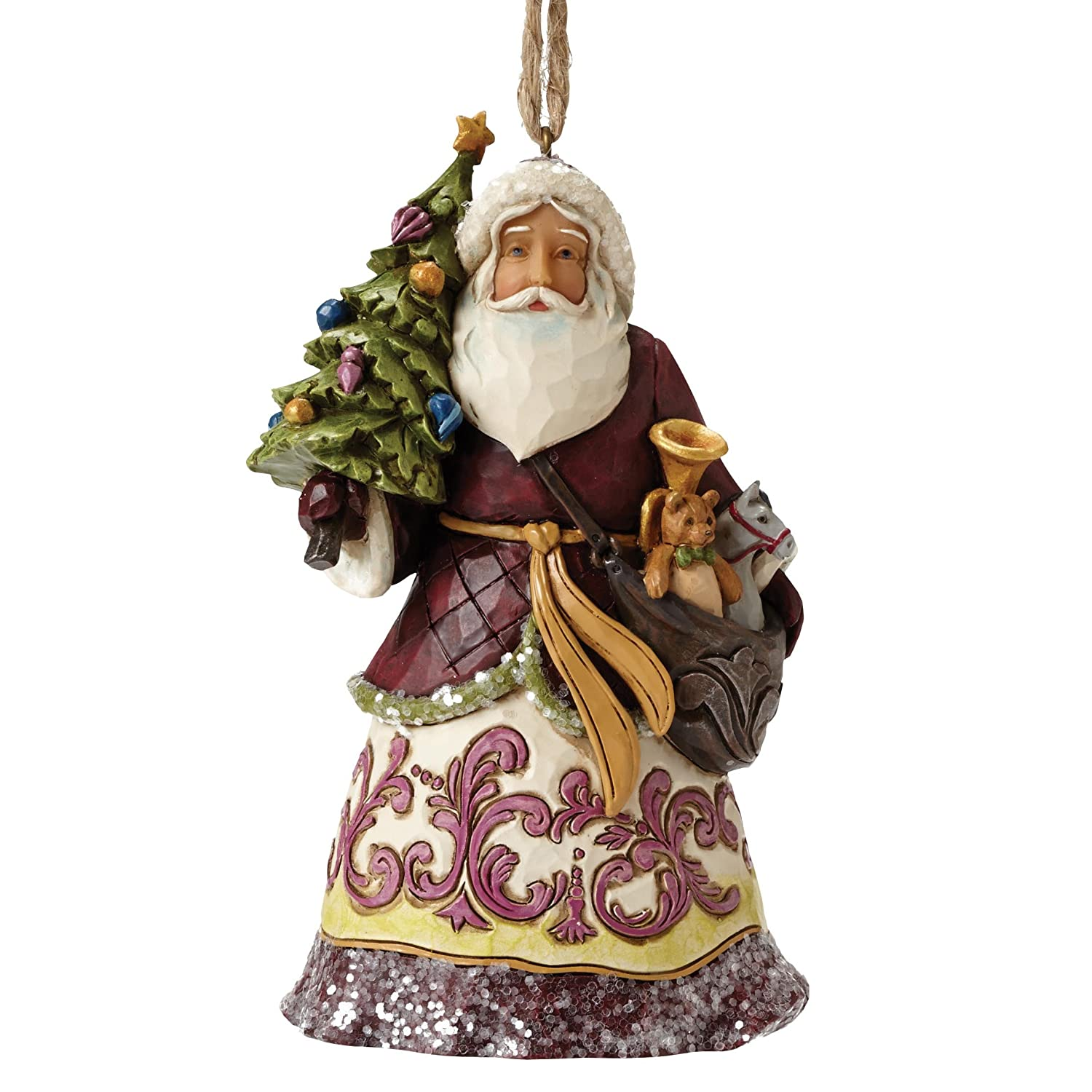 Enesco Hearwood Creek By Jim Shore HWC Sospensione Babbo Natale con Albero, PVC,, 8x10x12.5 cm 4053699