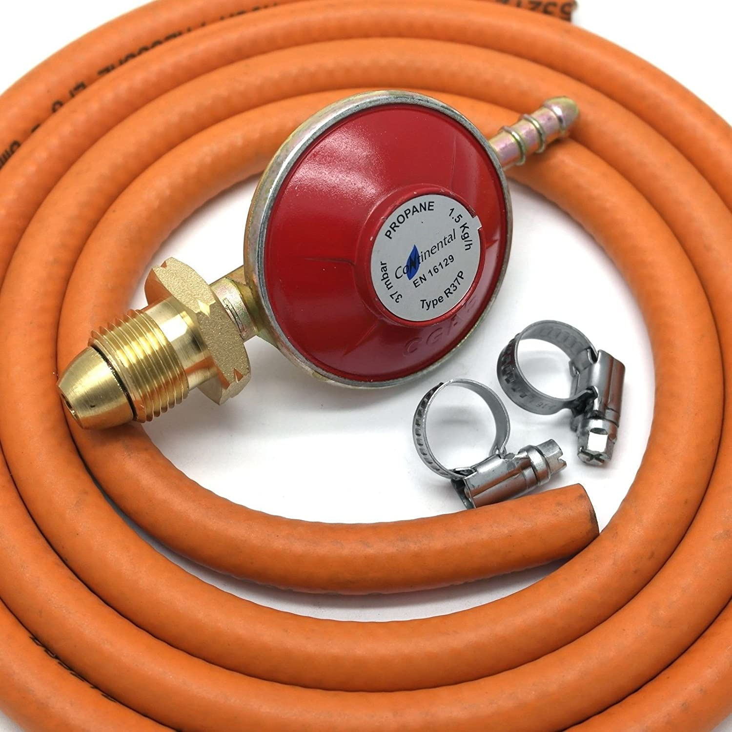 continental products Propane Gas Regulator 37Mbar With 2M Hose & 2 Clips Fits Calor Gas/Flogas