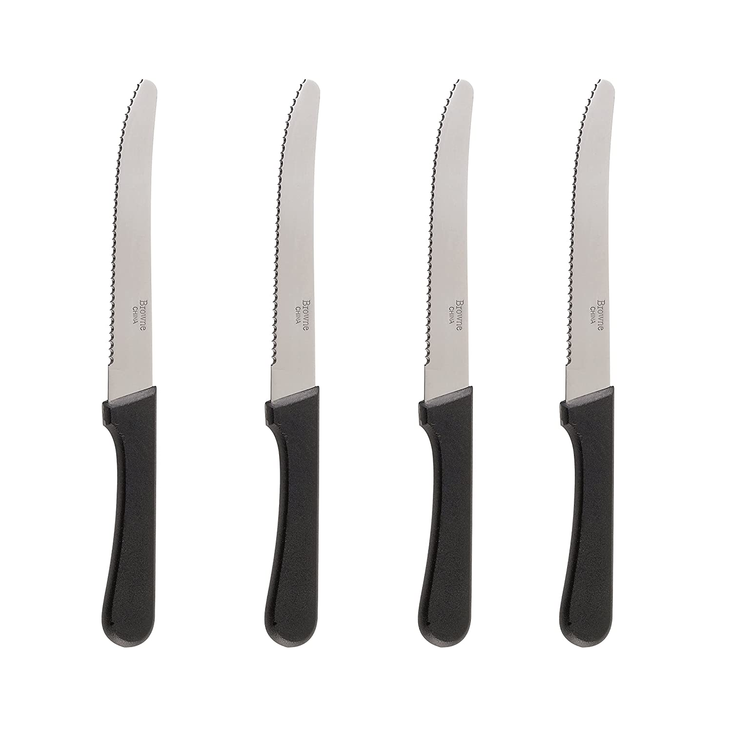 Steak Knives Serrated Set, Restaurant Quality, Stainless Steel, 4.25-inch, Rounded Tip, Set of 4 (4)