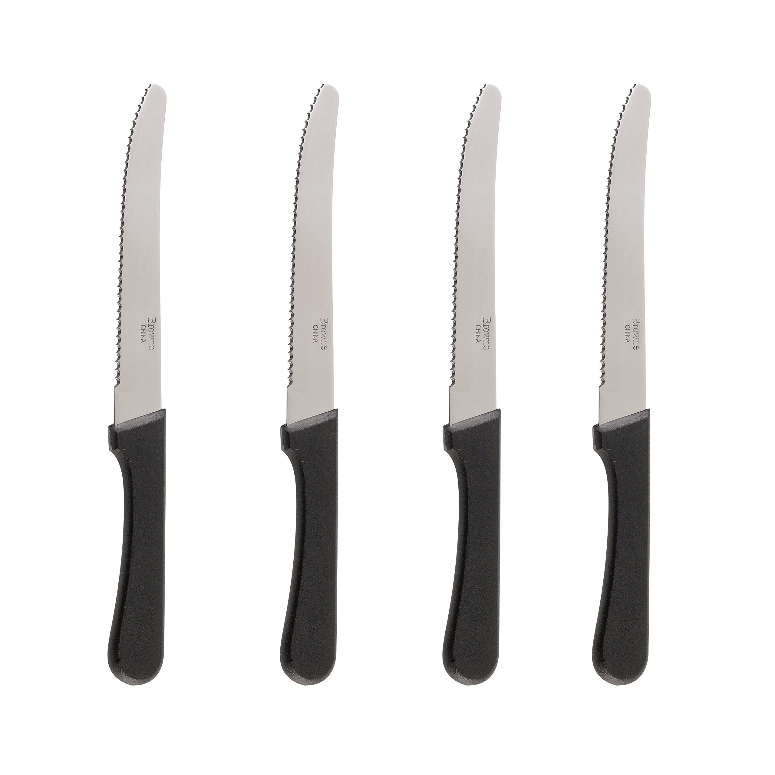 Steak Knives Serrated Set, Restaurant Quality, Stainless Steel, 4.25-Inch, Rounded Tip, Set of 8 (8)