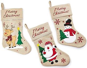 HEITMANN DECO Navidad - Set de Tres Calcetines de Yute Decorativos para llenar y Colgar -