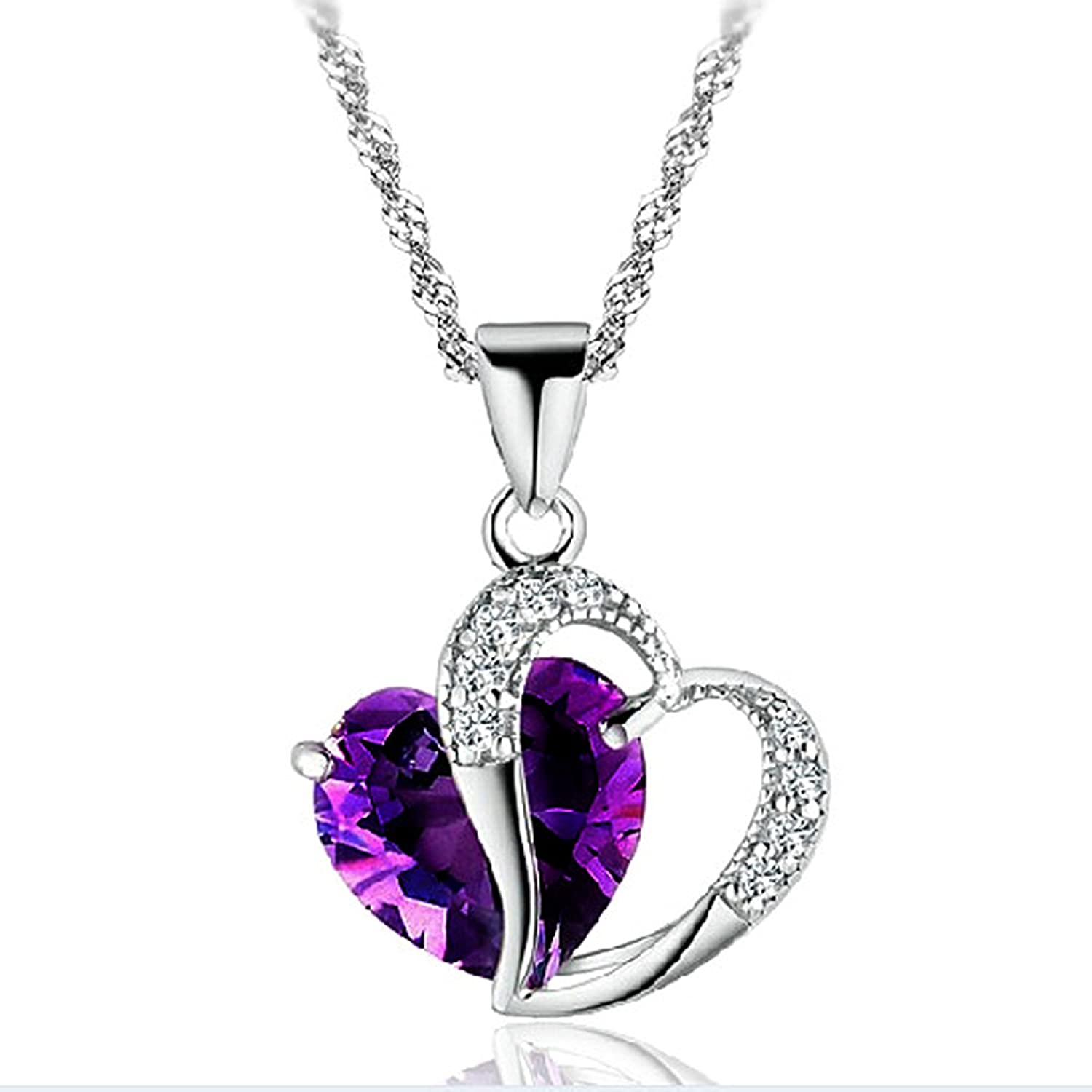 gottlieb stephanie fine products stone necklace purple jewelry colored img heart