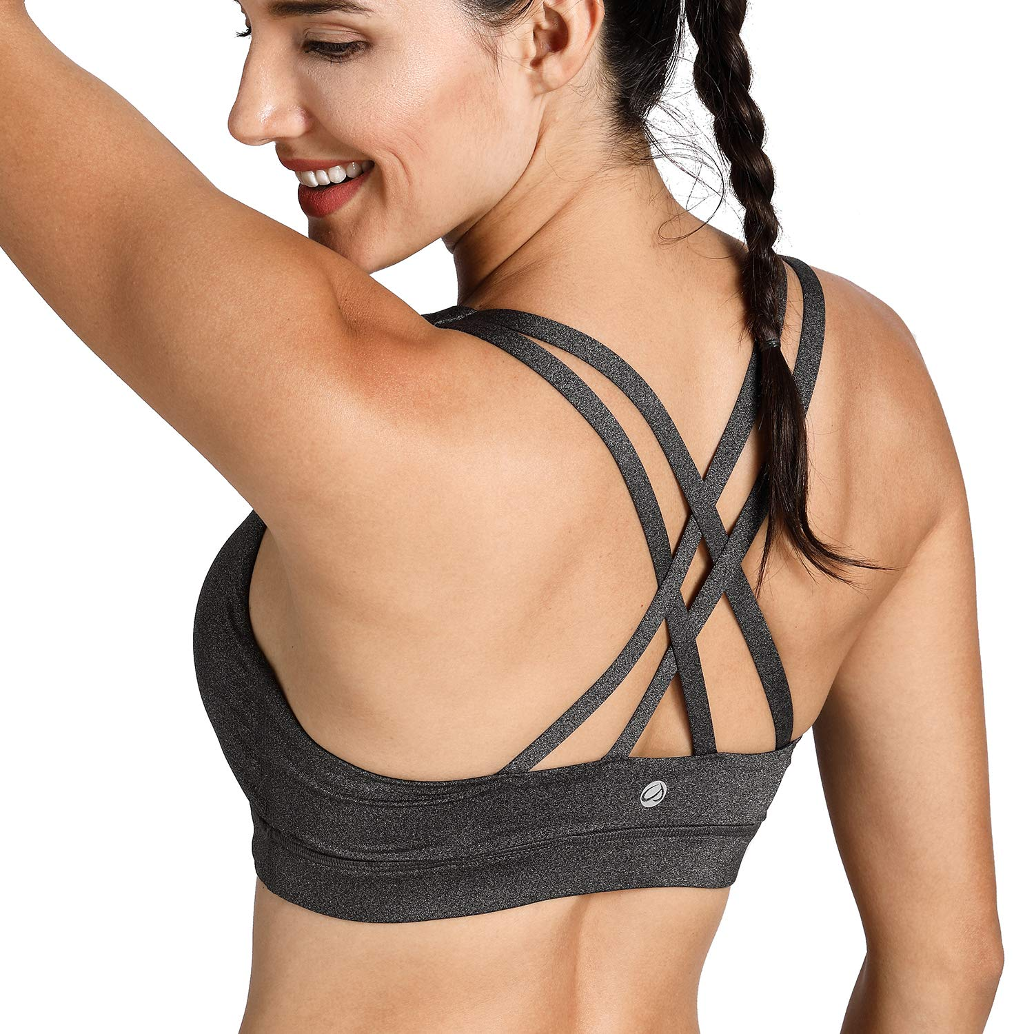 5e9067e130edc CRZ YOGA Women s Wirefree Padded Strappy Back Workout Yoga Sports Bra at  Amazon Women s Clothing store