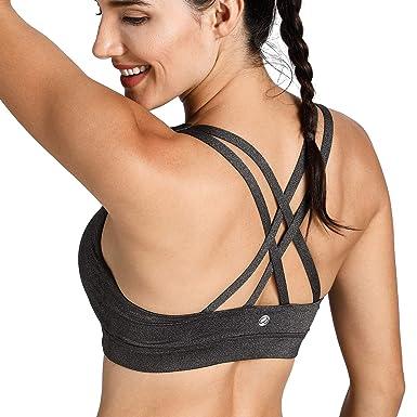 2d35f56afb8e1 CRZ YOGA Women s Wirefree Padded Strappy Back Workout Yoga Sports Bra  Charcoal Heather-Logo XS