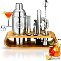 Merch N Purch Cocktail Shaker Set 10-Piece 750ml Stainless Steel Bartender Kit with Stylish Bamboo Stand for Pleasant…