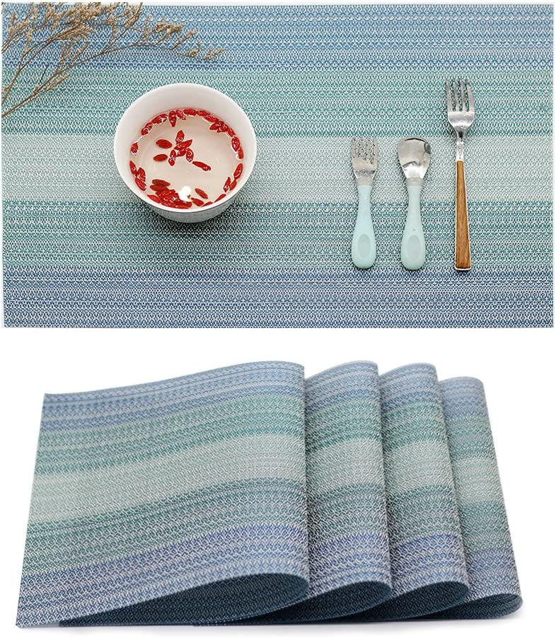 Candumy Placemat Blue Vinyl Table Mats Set of 4,PVC Heat Resistant Anti-Skid Washable Non-Slip Insulation,Crossweave Woven Placemats for Kitchen and Dining (Blue)