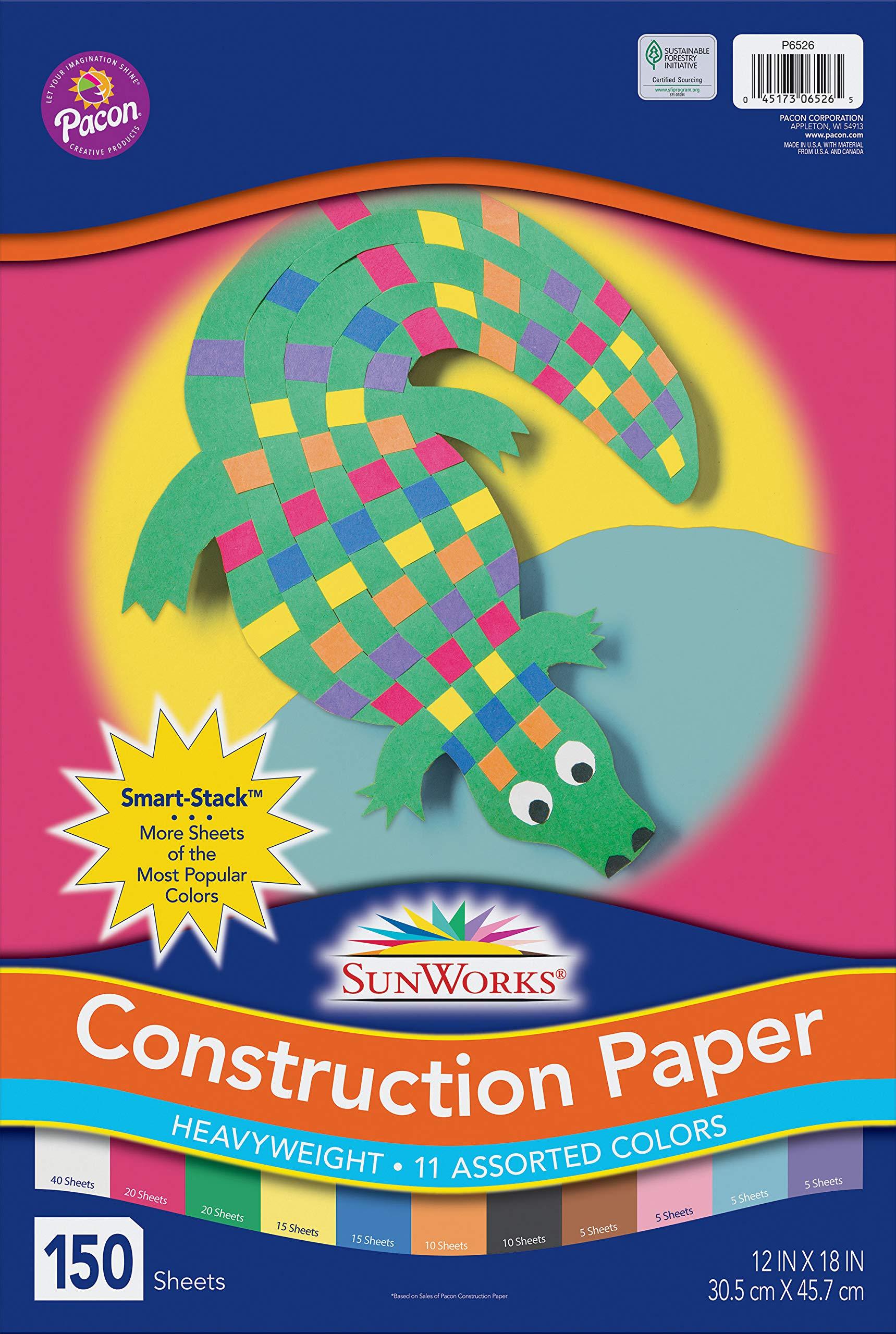 SunWorks PAC9207BN Construction Paper 12 x 18 10 Packs 50 Sheets Per Pack White