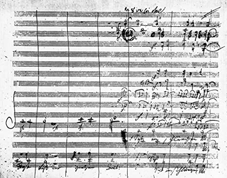 Beethoven Novena Sinfonía Na Página Del Manuscrito De Ludwig Van Beethovens Novena Sinfonía En D Minor Con El Coro De Friedrich Von Schillers Ode Alegrarse El Texto Alemán Lee Seid Umschlungen