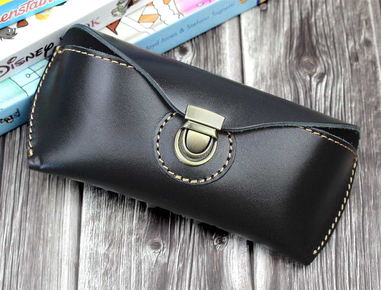 black LXFF Eyeglass Case Sunglasses Holder for Women Men Genuine Full Grain Leather