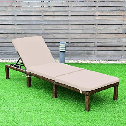 Superb Outdoor Reclining Lay Flat Patio Furniture Chaise Lounge Beach Pool Lawn Recliner Chairs Adjustable With Cushions Brown Beige Unemploymentrelief Wooden Chair Designs For Living Room Unemploymentrelieforg