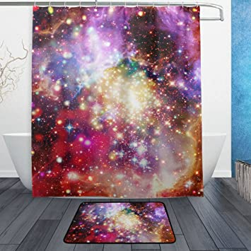 Color Universe Constellation Shower Curtain Liner Bathroom Mat Waterproof Fabric