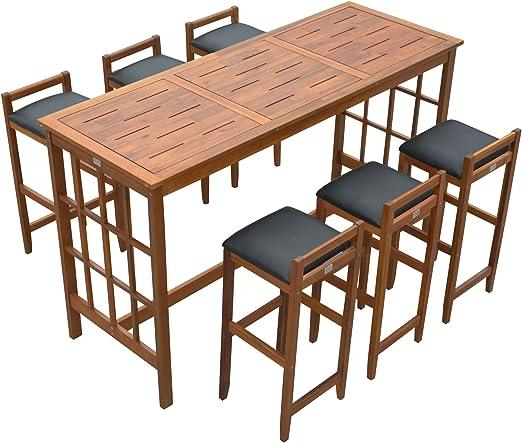 Homcom - Juego de mesa alta con 6 taburetes de madera con asiento acolchado: Amazon.es: Jardín