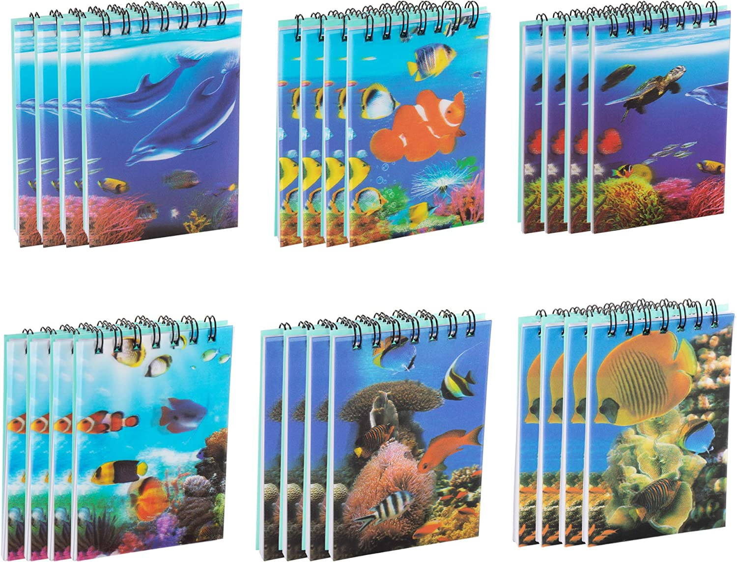 Juvale Spiral Notepads with Ocean Animal Design (2.75 x 4.25 Inches, 24-Pack)