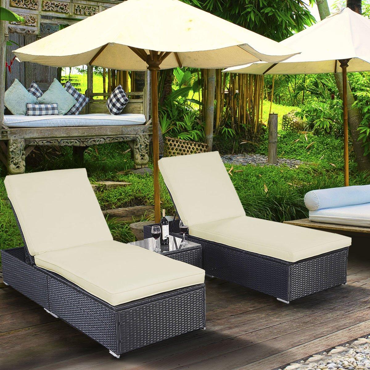 Mesa de exterior de mimbre tangkula 3 Pcs piscina Chaise ...