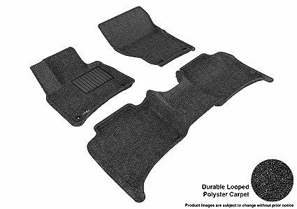3D MAXpider Front Row Custom Fit Floor Mat for Select Porsche Cayenne/Volkswagen Touareg Models Black Classic Carpet